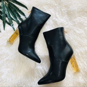 Black Pointed Toe Ankle Boot Gold Lucite Heel NEW